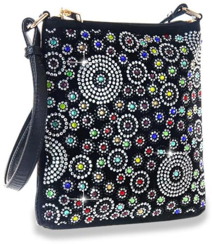 Colorful Rhinestone Pattern Crossbody Black/Multi