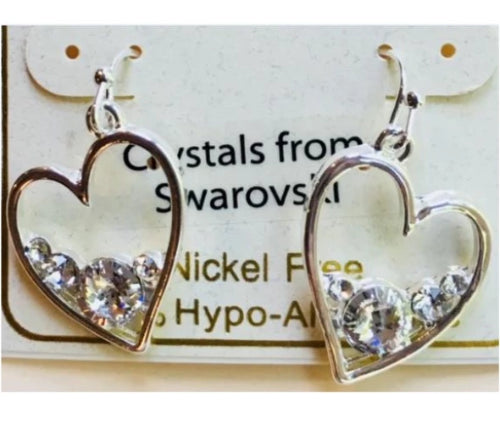 ilver Heart with Swarovski Crystals