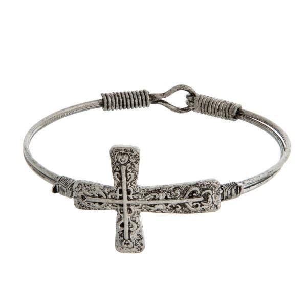 Silver Tone Cross Bangle Bracelet