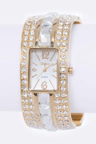 Mix Crystals Bangle Watch Gold