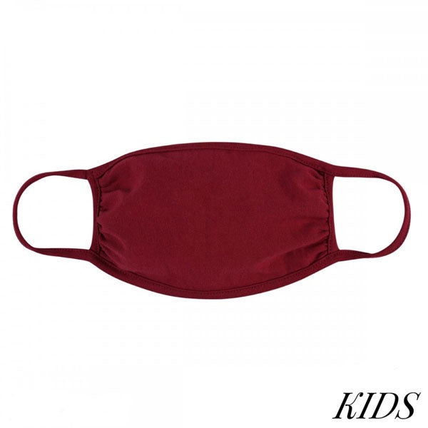 Kids Reusable Solid Color T-Shirt Cloth Face Mask Burgundy