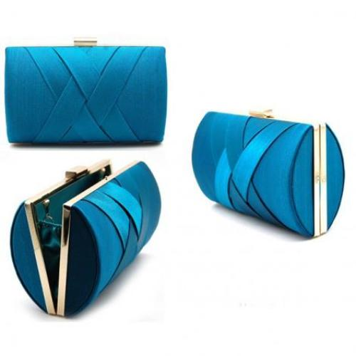 Satin Evening Bag Blue