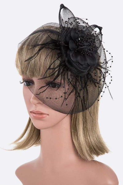 Oversize Flower Fascinator/Headband Black