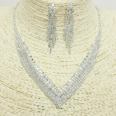 V-Pattern Rhinestone Necklace with Fringe-Style Earrings Silver