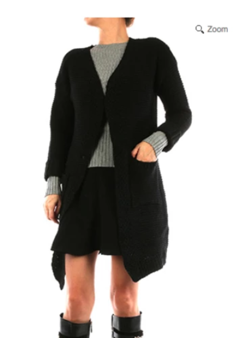 Knitted Sweater Cardigan with Pockets Black