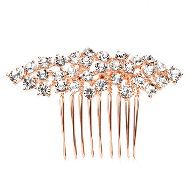 Crystal Clusters Hair Comb Rose Gold