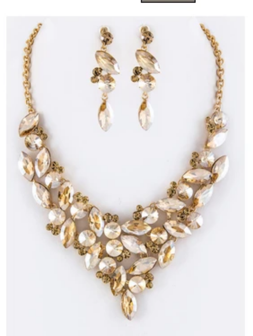 Mix Crystals Statement Necklace Set Topaz
