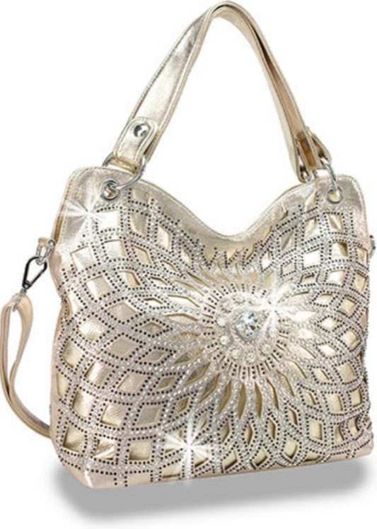 Starburst Bling Design Handbag Gold