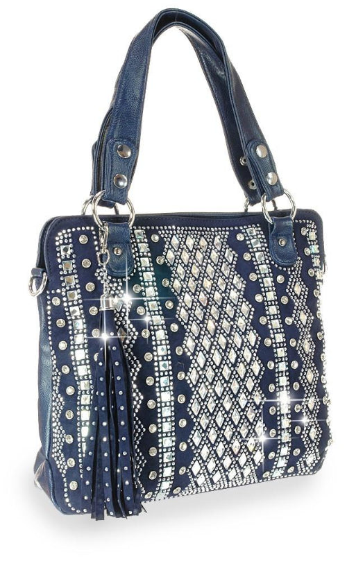 Dazzling Bling Pattern Tall Tote Navy