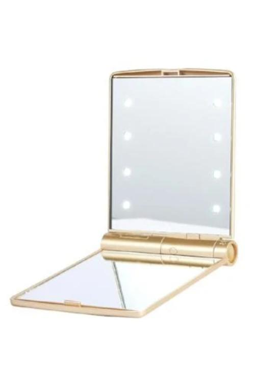 LED Bi-Fold Compact Mirror Gold