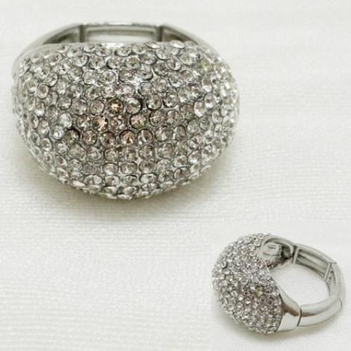 Rhinestone Cocktail Ring Silver