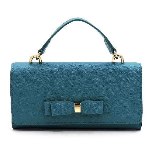 Saffiano Textured Bow Crossbody/Cell Phone Purse Teal
