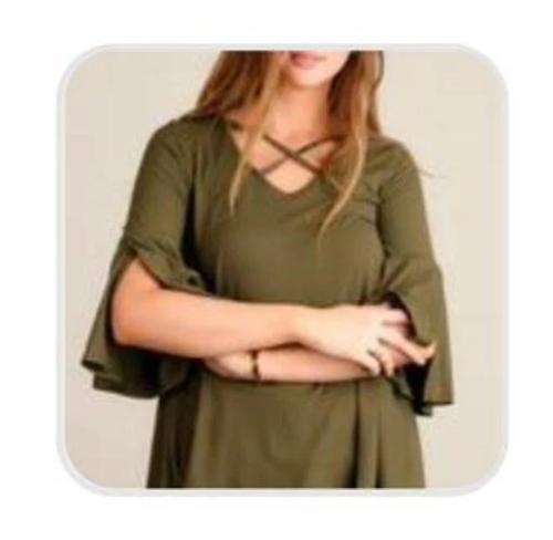 Olive Panel Design Bell Sleeve Blouse