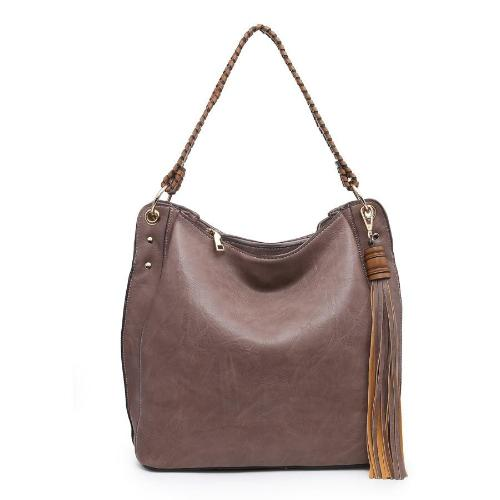 Front Tassel Hobo Bag Plum