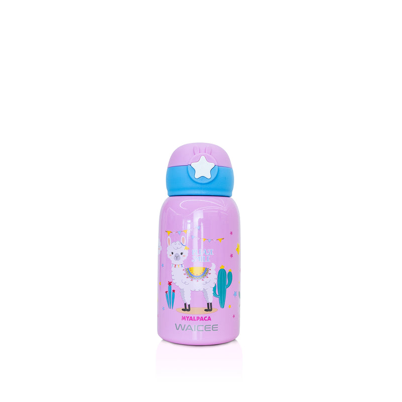 Waicee Kids Watter Bottle with Straw and Outer Bag 600ml - Pink