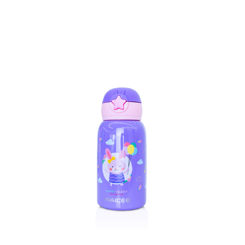 Waicee Kids Watter Bottle with Straw and Outer Bag 600ml - Purple