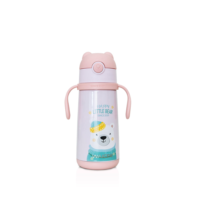 Waicee Kids Watter Bottle with Straw 400ml - Pink