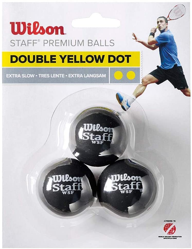 Wilson Staff Squash 3 Ball DBL Yellow Dot
