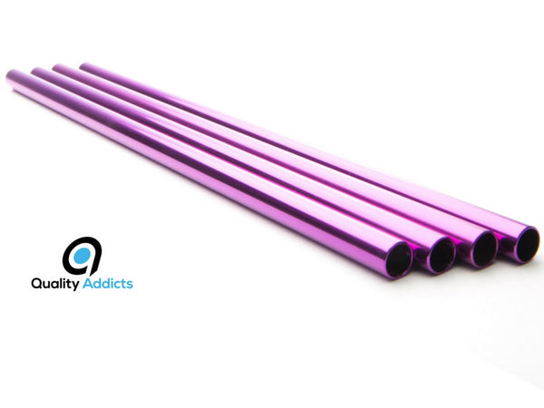 Reusable Anodised Food Grade Aluminium Straws (x4) + Cleaning Brush