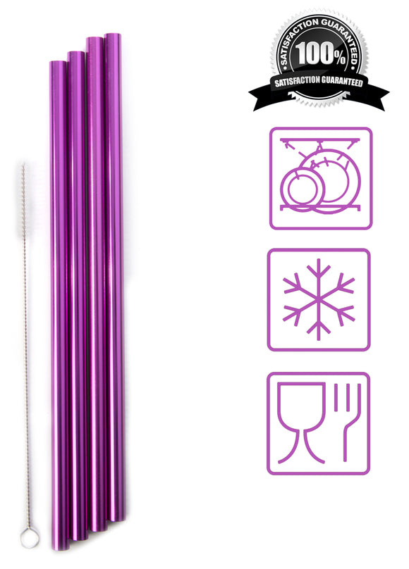 Reusable Aluminium Metal Straws (x4) + Cleaner Brush | Food Grade - Blunt Edges | Fit Any Tumbler