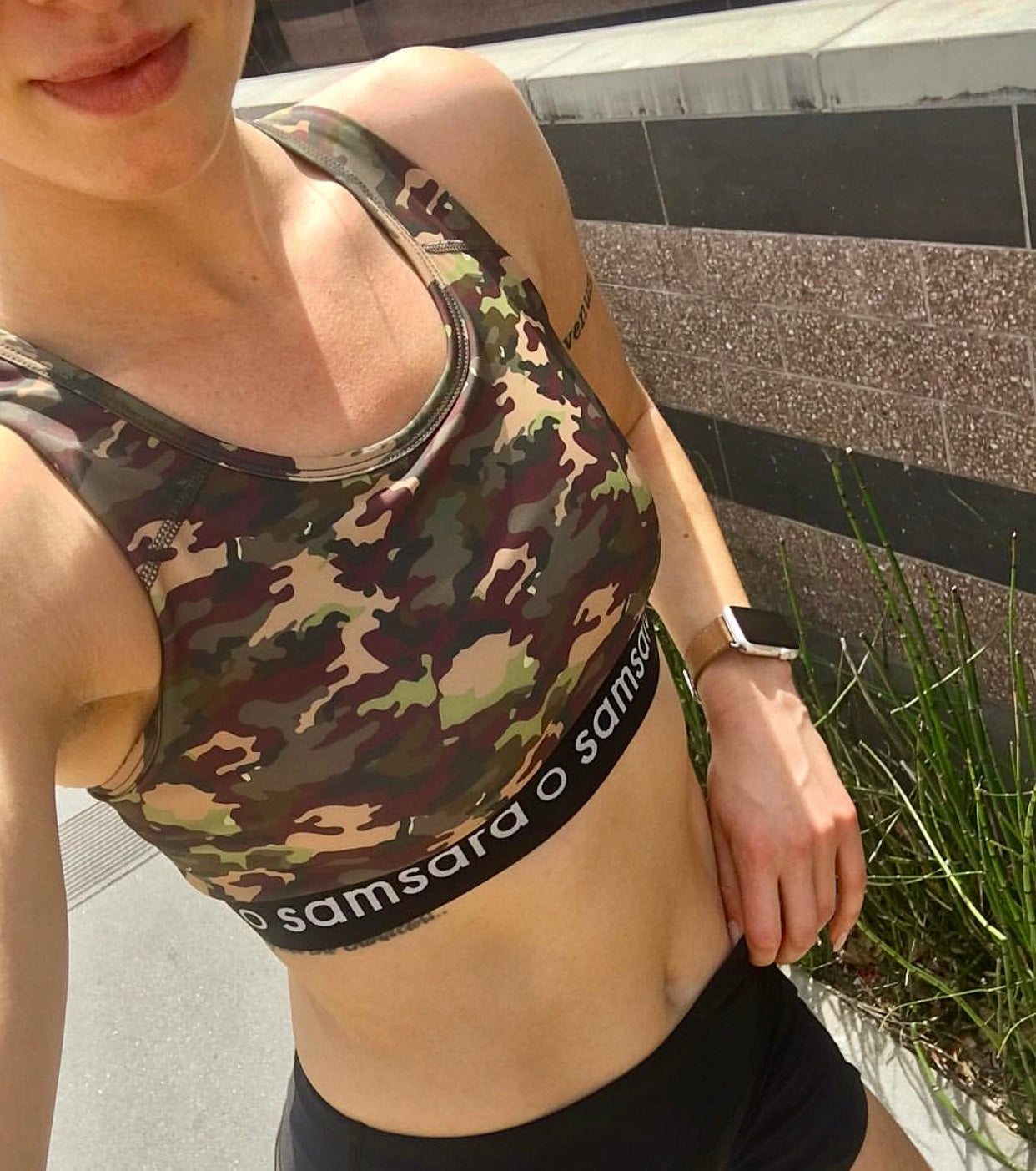 woman wearing sports bra