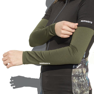 women's cycling arm warmers army green | samsara cycle