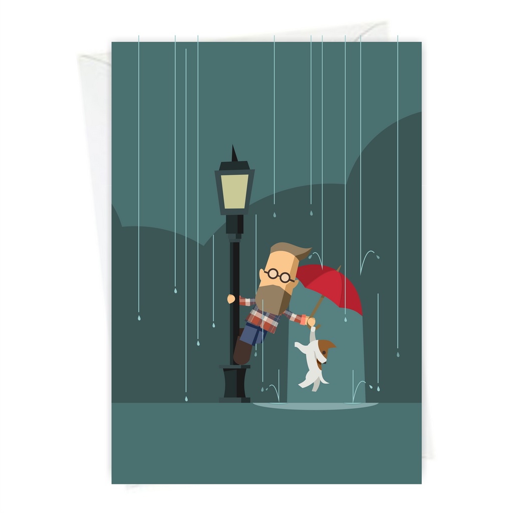 Singing in the Rain - Mike&Scrabble A6 Greeting Card