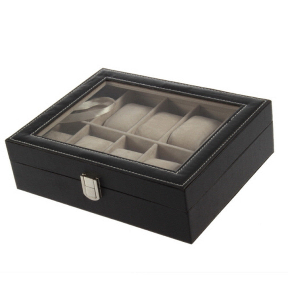 Leather 10 Grid professional Wrist Watch Display Box