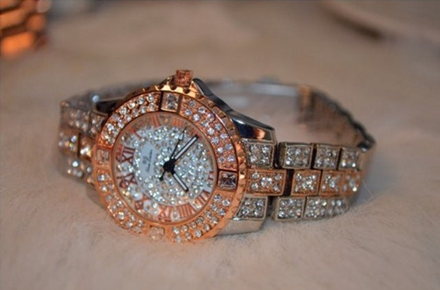 Diamond Studded Golden Watch