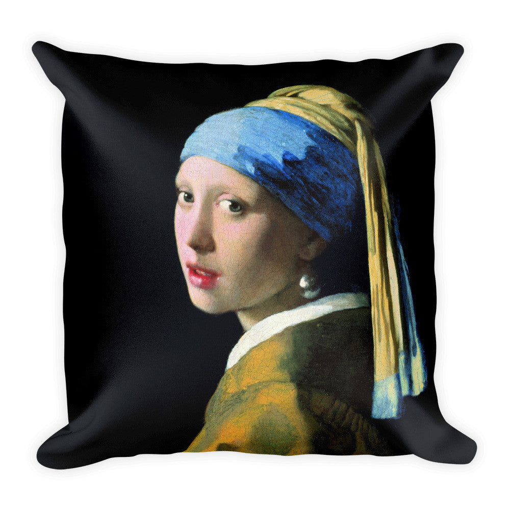 Girl with a pearl earring Square Pillow