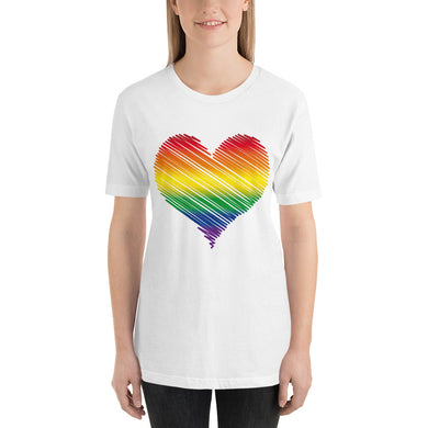 Rainbow Heart Short-Sleeve Unisex T-Shirt