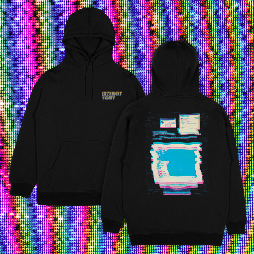 INTERNET TODAY® | GLITCH HOODIE (BLACK) LIMITED EDITION