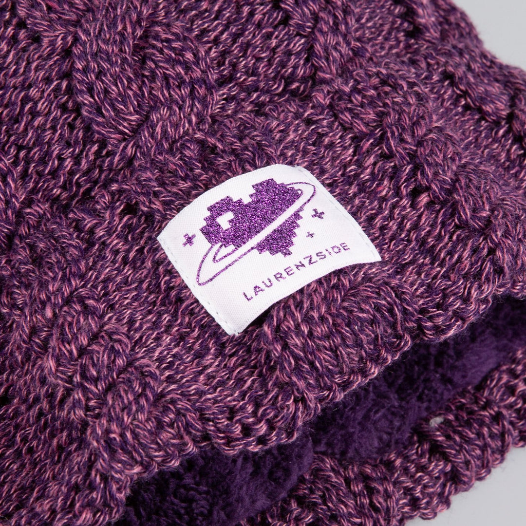 LAUREN Z SIDE® | HEART LOGO POM POM BEANIE (PURPLE)