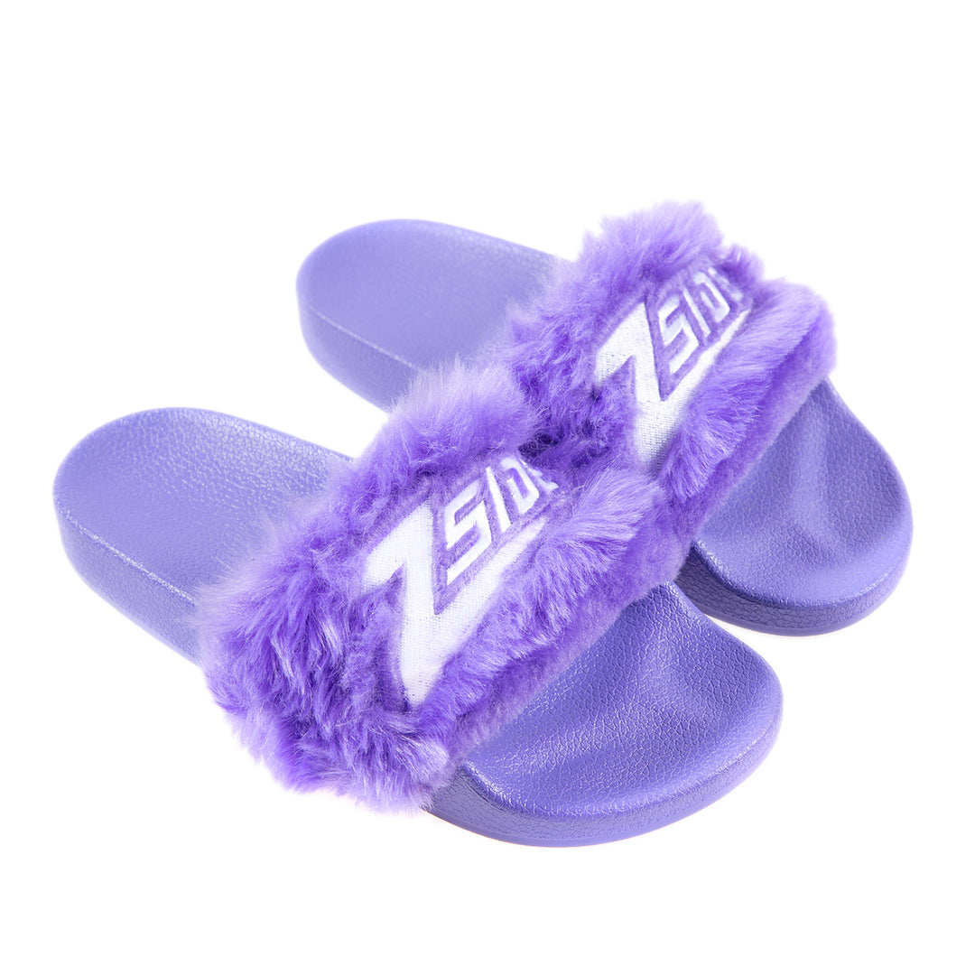 LAUREN Z SIDE® | FAUX FUR Z SLIDES (PURPLE) LIMITED EDITION