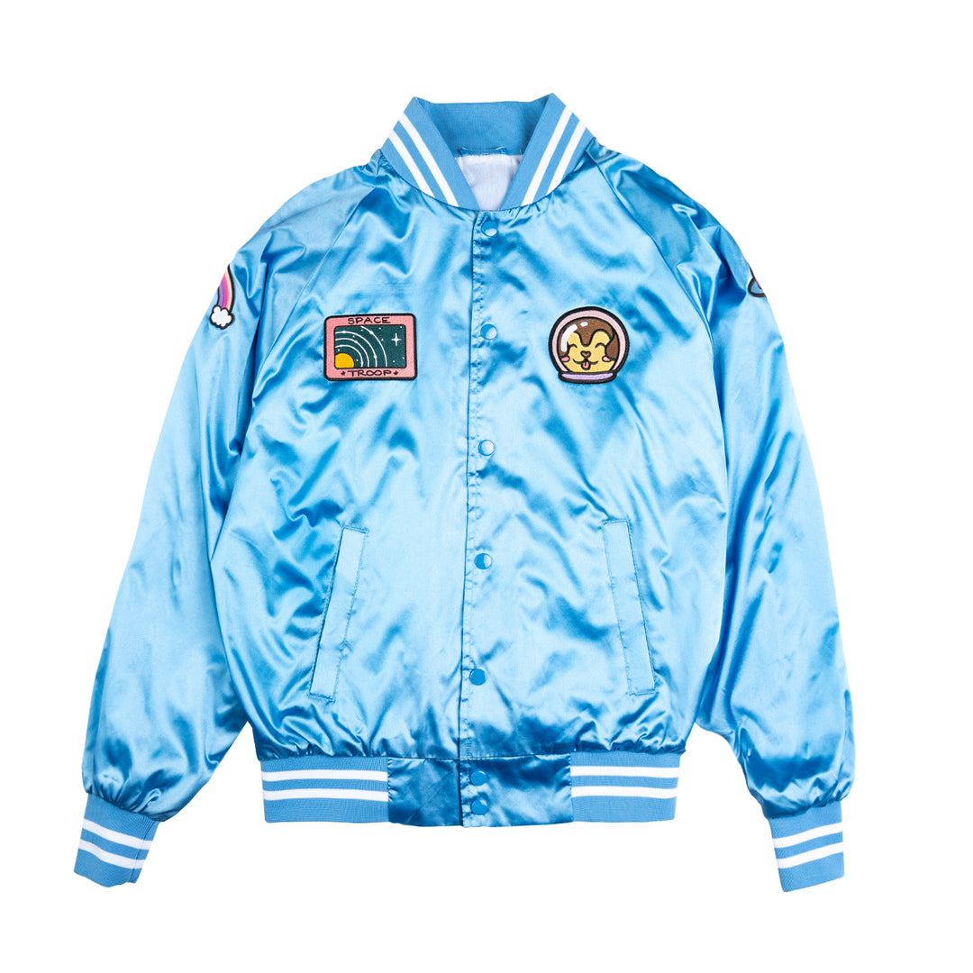 LAUREN Z SIDE® | SPACE CAMP SATIN VARSITY JACKET (BLUE) LIMITED EDITION