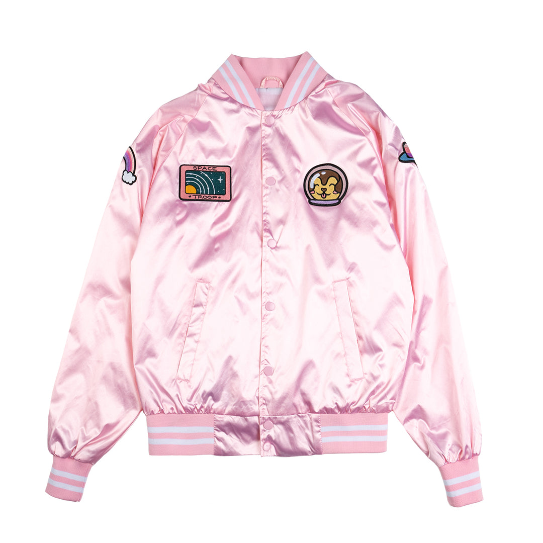 LAUREN Z SIDE® | SPACE CAMP SATIN VARSITY JACKET (PINK) LIMITED EDITION