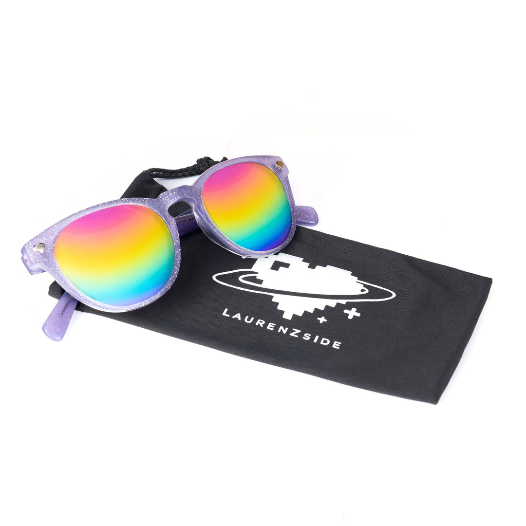 LAUREN Z SIDE® | GLITTER DIGI HEART SUNGLASSES (PURPLE) LIMITED EDITION