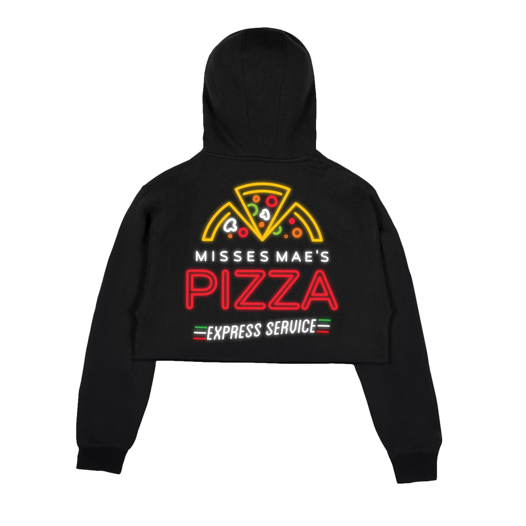 MISSES MAE® | NEON PIZZA CROP HOODIE (BLACK)