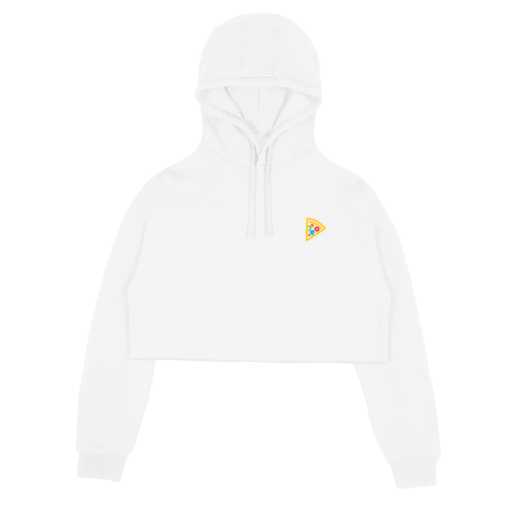 MISSES MAE® | NEON PIZZA CROP HOODIE (WHITE)