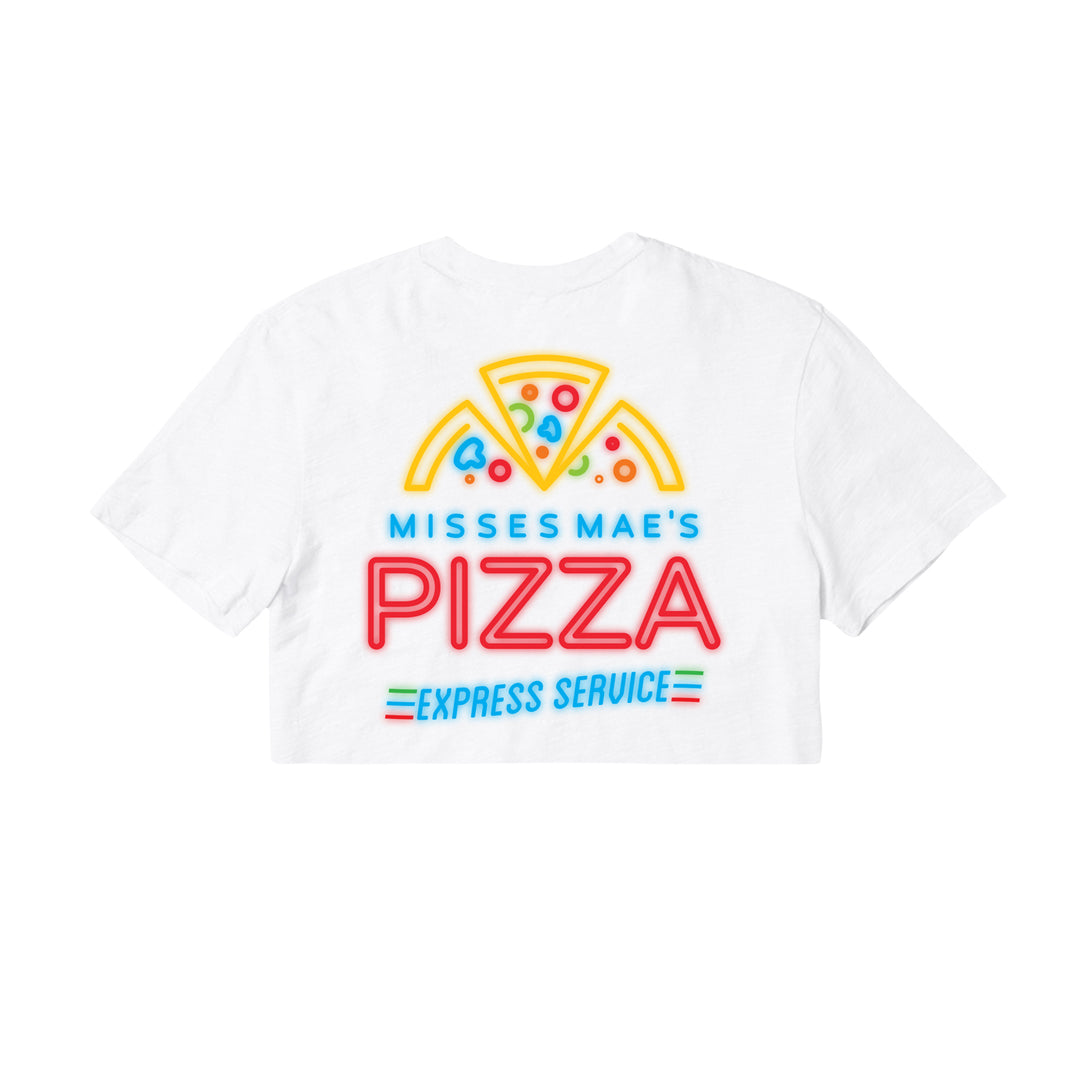 MISSES MAE® | NEON PIZZA CROP TEE (WHITE)