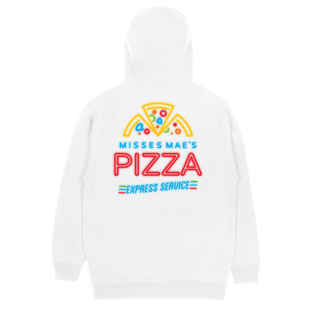 MISSES MAE® | NEON PIZZA HOODIE (WHITE)
