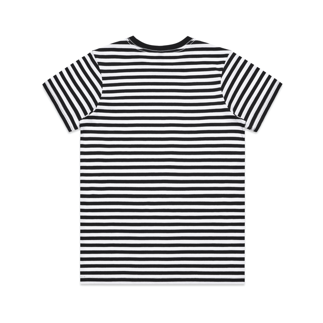SHIPWRECKED COMEDY® | LOGO STRIPED TEE (WHITE / BLACK)