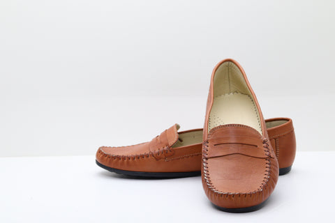FAST STEP 257 Top Stitch Plain Moccasin Shoes - Aurora Boutique Online