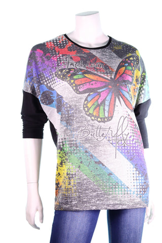 CeCi LS Oval Neck Fashion Writing Big MC Butterfly Top - Aurora Boutique Online