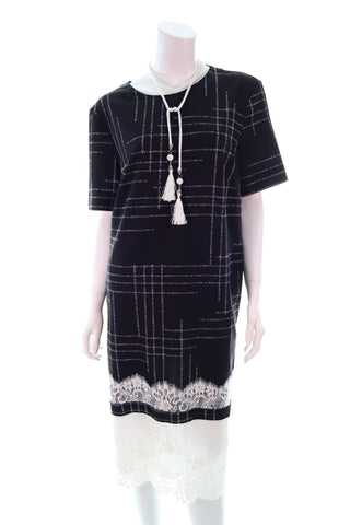 Checkered Bottom Lace Dress - Aurora Boutique Online