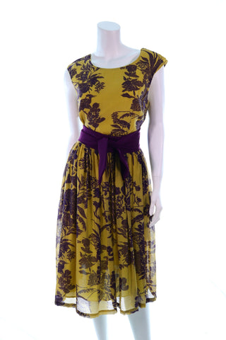 Two Tone Purple Belt Dress - Aurora Boutique Online
