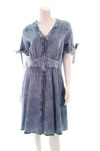 V- Neck  Button Denim Dress - Aurora Boutique Online