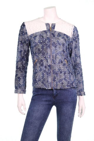 Triangle Blocks Lace Shoulder Jacket - Aurora Boutique South Africa