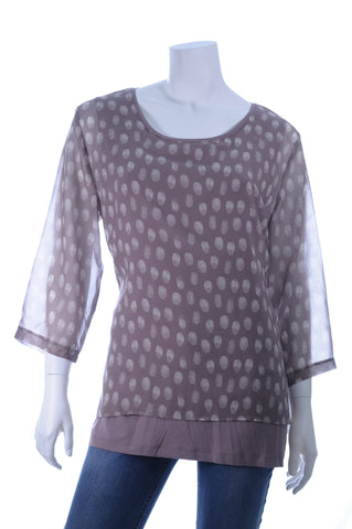 GW Three Quarter Sleeve Double Layer Polka Dot Tunic - Aurora Boutique Online