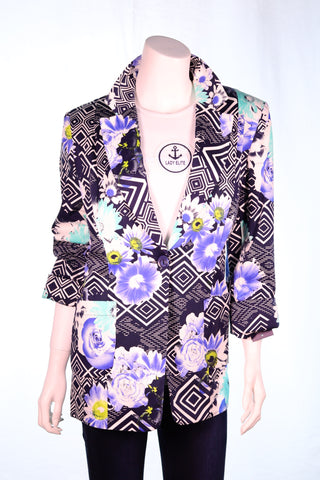 Collar One Button Floral Jacket - Aurora Boutique Online